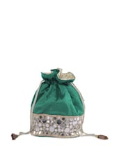 Green Potli Bag With Shiny Glass Mirror And Zari Embellishments - Moda