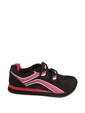 Black And Bright Pink Active Wear Faux Leather Shoes With A Velcro Strap - Campus