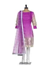 Purple And Cream Cotton Kurta With A White Lycra Churidaar And A Net Dupatta - Nataasha Dubliish