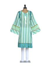 Elegant Blue And White Printed Cotton Kurta With Umbrella Sleeves And A White Lycra Churidaar - Nataasha Dubliish