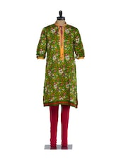 Green Full-sleeved Floral Print Kurta With A Dori Fastening At The Neck, Pink Lycra Churidaar - Nataasha Dubliish