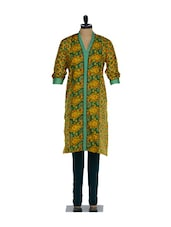 Green And Yellow Paisley Print Cotton Kurta With A Teal Green Lycra Churidaar - Nataasha Dubliish