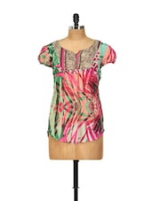 Abstract Printed Multicolour Polyester Top - Yepme