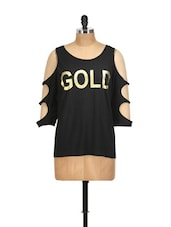 Gold Print Sleeve Cut Distressed Top - Yepme