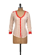 Patterned Ecru And Red Shirt-style Top - Yepme