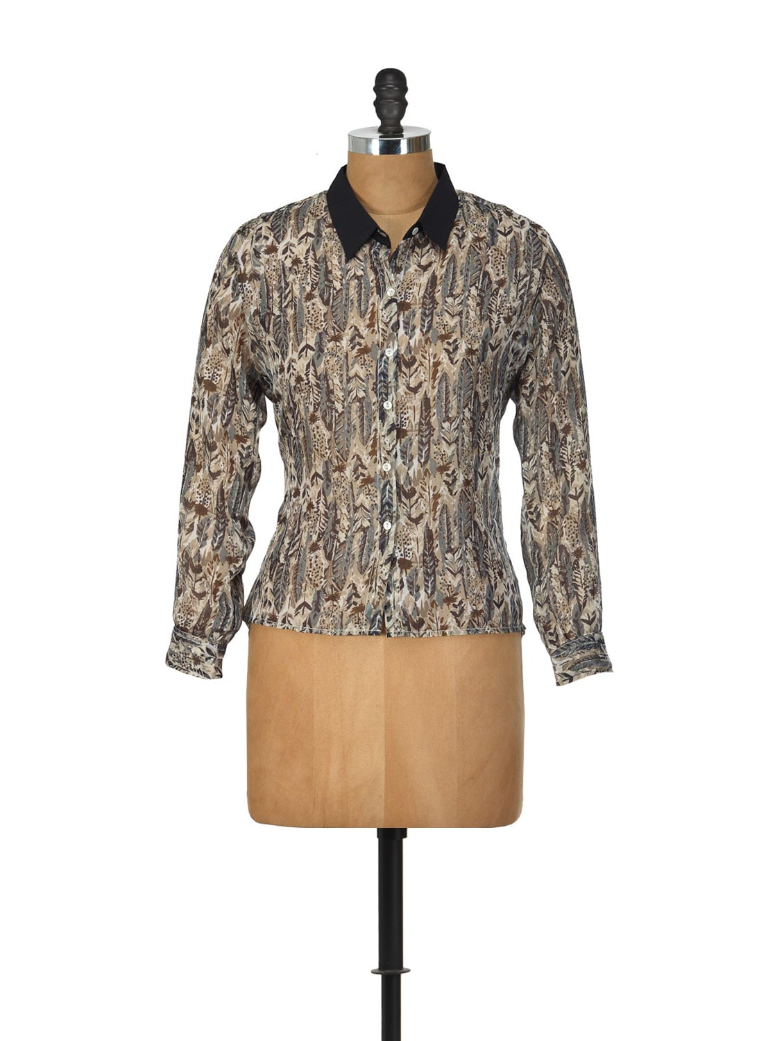 Feather Print Tribal Shirt Style Top - Yepme