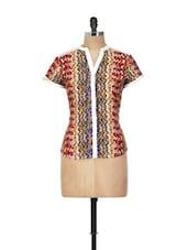 Abstract Print Jacket Style Top - Yepme