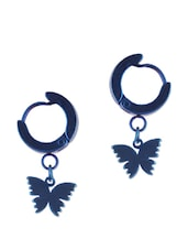 BLUE MINI HOOP EARRINGS WITH BUTTERFLY DESIGN - THE BLING STUDIO
