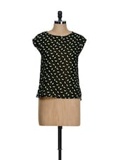 Black Round Neck Top With Green Cat Prints - La Zoire