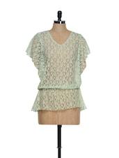 Poncho Style V-neck Net Top - La Zoire