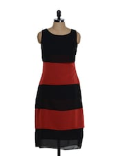 Classic Black And Red Sleeveless Long Dress - La Zoire