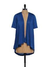Stylish Cotton Knit Blue Shrug - Femella