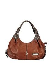 Faux Zipper Detail Brown Hobo Bag - Calvino