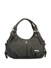 Faux Zipper Detail Grey Hobo Bag - Calvino