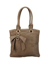 Bow Trim Textured Mud Brown Tote - Calvino