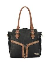 Faux Zipper Detailed Black Tote Bag - Calvino