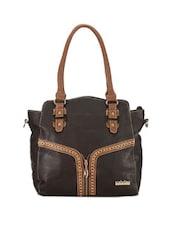 Faux Zipper Detailed Cocoa Tote Bag - Calvino