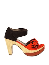 Stylish Black And Red Block Heels With A Red Flower Trim - ZACHHO
