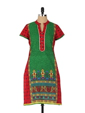 Gorgeous Bright Red And Green Printed Kurta With A Touch Of Zari - Aaboli