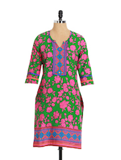 Green Floral Printed Cotton Kurta - Aaboli