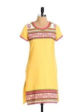 Remarkable Yellow Cotton Kurta With Printed Yoke - Aaboli