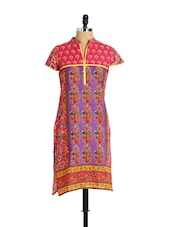 Floral Heaven Kurti In Lovely Purple And Pink - Aaboli
