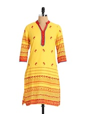 Beautiful Yellow Kurti With Gorgeous Print - Aaboli