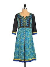 Edgy Blue Printed Cotton Kurta With Embroidered Patch On The Neckline - Aaboli