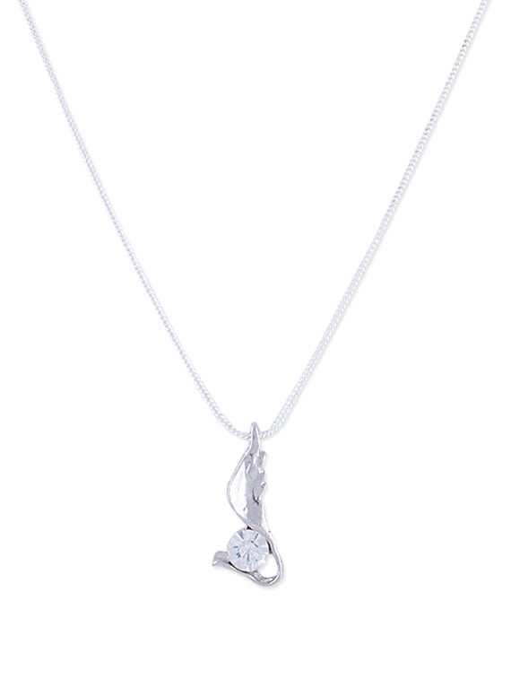 Delicate Diamond Pendant In Silver - DIOVANNI
