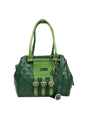 Dark Green Quilted Pattern Stylish Tote Bag With Three Metal Buckles - Reyna