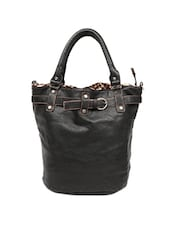 Basic Black Basket Shaped Tote Bag - Reyna