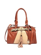 Unique Brown Basket Weave Pattern Tote Bag With Faux Leather Tassels - Reyna