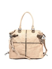 Cream Elegant Jute Finish Textured Tote Bag - Reyna