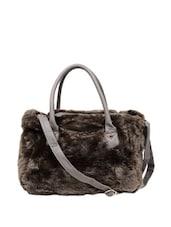 Grey Faux Fur Tote Bag Which Comes With A Sling - Reyna