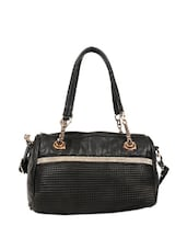 Black Textured Tote Bag With Crystal Embellishments - Reyna