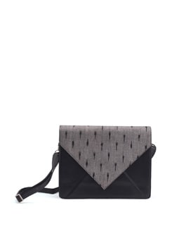 Ikat Fabric Flap Satchel In Black And Grey - PRINCESSE K