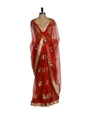 Gorgeous Red Net Saree With Lotus Motifs And Golden Blouse - Purple Oyster