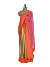 Stylish And Elegant Half And Half Pink And Beige Saree In Georgette And Net - Purple Oyster