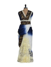 Heavily Embellished Semi Crepe Saree In Stunning Blue And White Combination - Purple Oyster