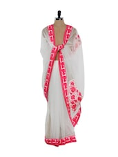 White Net Saree With Pink Thread Work - Purple Oyster