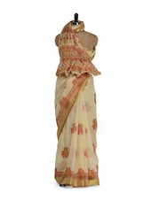 Charming Beige And Brown Cotton Saree With Zari Work - Purple Oyster