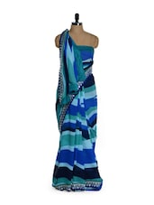 Striped Blue Saree With Elegant Border - Purple Oyster