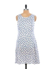 Cute White And Blue Polka Dotted Summer Dress - EIGHTEEN27