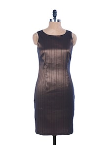 Bronze Striped Cut-sleeved Dress - EIGHTEEN27