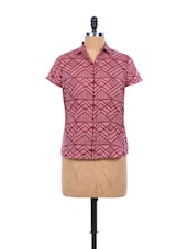 Onion Pink And Maroon Printed Half-sleeved Shirt - EIGHTEEN27