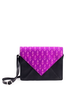 Ikat Fabric Flap Satchel In Black And Pink - PRINCESSE K