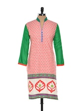 Floral Print Kurti With Green Sleeves - NAVRITI