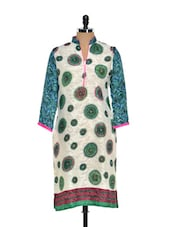 Printed Cream Kurti With Paisley Sleeves - NAVRITI