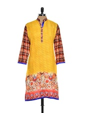 Printed Yellow Kurti With Check Sleeves - NAVRITI