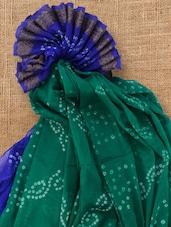 Green And Blue Rajasthani Bandhej Saree With Blouse Piece - Royal Ji